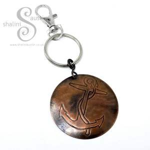 Embossed Copper Keyring with an Anchor pattern