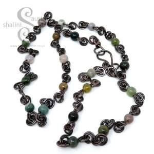 Antique Finish Semi-Precious Gemstone Indian Agate Beads Necklace