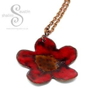 Sold: Copper Flower Pendant - Enamelled Red