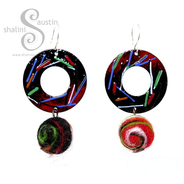 Colourful, Quirky Felt and Copper Earrings by Esha