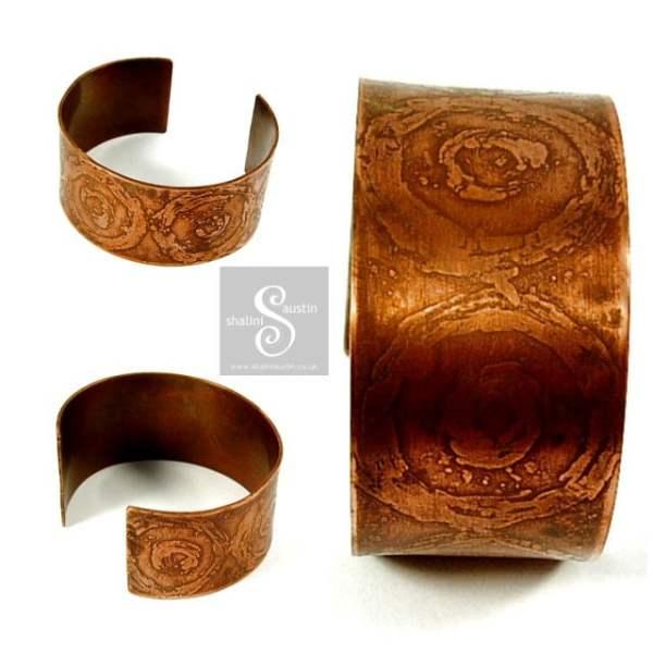 'Circles' Etched Copper Cuff
