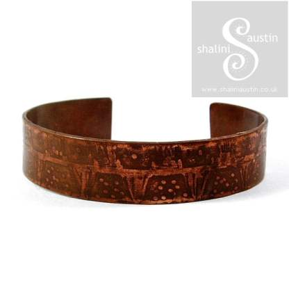'Bunting' Etched Copper Cuff