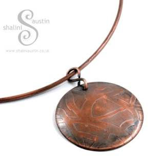 Etched Copper Disc Pendant WHIMSY