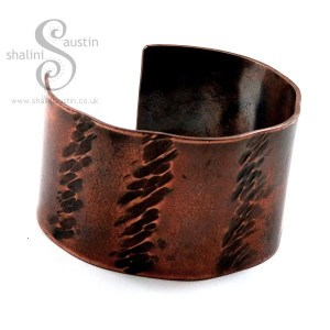 Unisex, Wide Hammered Copper Cuff Bracelet