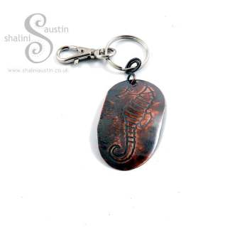 Gift Ideas: Embossed Copper Keyring SEAHORSE