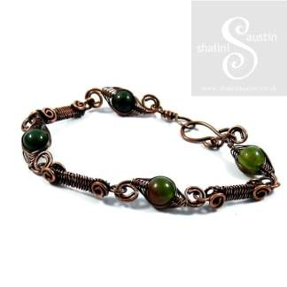 Indian Agate Wire Weave Bracelet LAURA