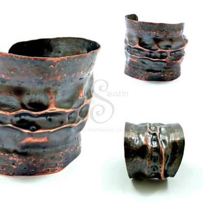Antique Finish Rustic Copper Cuff LUNAR 5