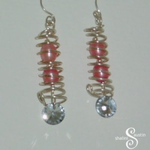 Pearl and Crystal Wire Earrings