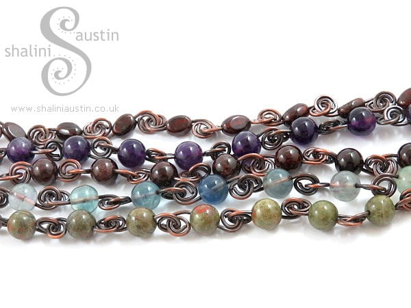 Antique Finish Semi-Precious Gemstone Beads Bracelet