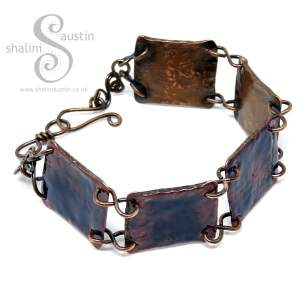 Enamelled Salvaged Copper Bracelet - Persian Blue