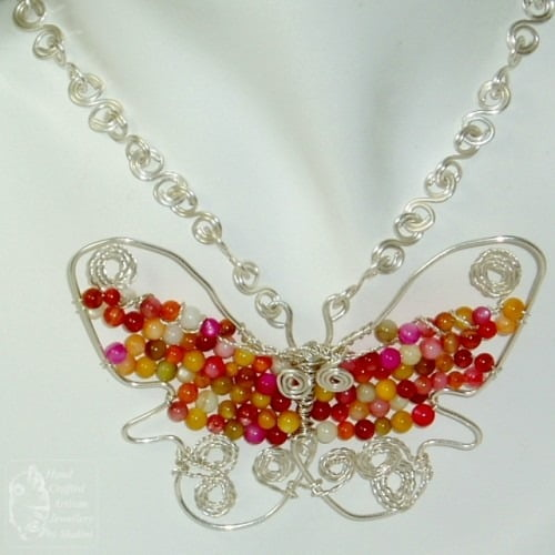 Shell And Wire Butterfly Pendant
