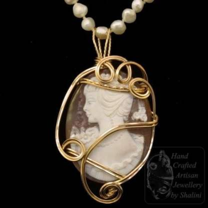 Shell Cameo Pendant Wrapped in Gold-Fill Wire