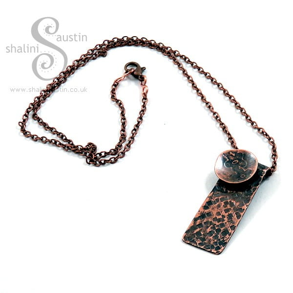 One-Off Textured Pattern Copper Pendant