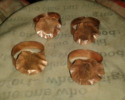 Antique Finish Copper Napkin Rings: Flower Design - Made to Order