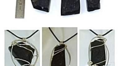 St Helena Rock Pendants wrapped in Sterling Silver