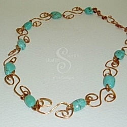 "Turquoise and Copper ""S Links"" Necklacecklace"