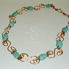 """Turquoise and Copper """"S Links"""" Necklacecklace"""