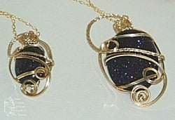 Blue Goldstone & Gold Fill Wire Pendants