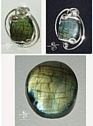 Labradorite & Sterling Silver Brooch