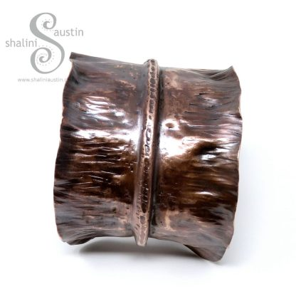 Individually Crafted Upcycled Fold-Formed Copper Cuff