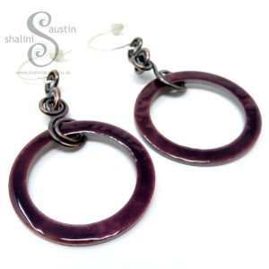 Enamelled Copper Circle Earrings - Purple