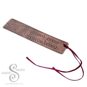 RESCUED IS MY FAVOURITE BREED Copper Bookmark - Dog 5