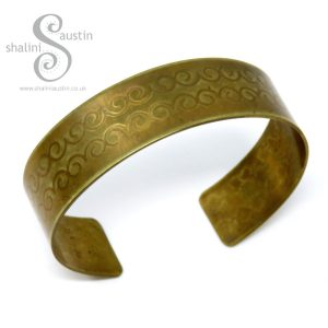 Embossed Brass Cuff DECORATIVE SWIRLS Pattern