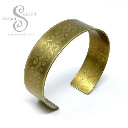 Embossed Brass Cuff DECORATIVE SWIRLS Pattern