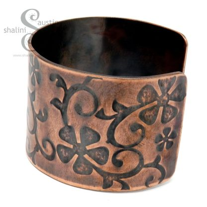 Antique Finish Wide Embossed Copper Cuff handcrafted in the UK
