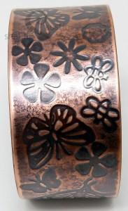 'Flutterby Meadow' Embossed Copper Cuff