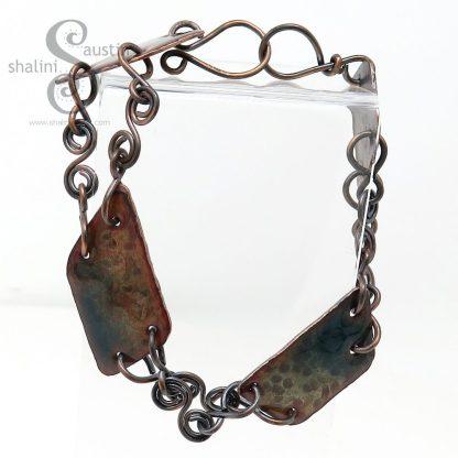 Blue Green Enamelled Copper Bracelet