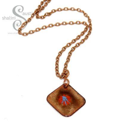Dainty Square Copper Pendant Gold and Orange