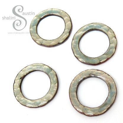 Textured Light Turquoise Enamelled Copper Circles - Set of 2