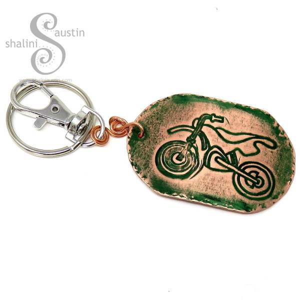 Embossed Copper Keyring MOTORBIKE (01)
