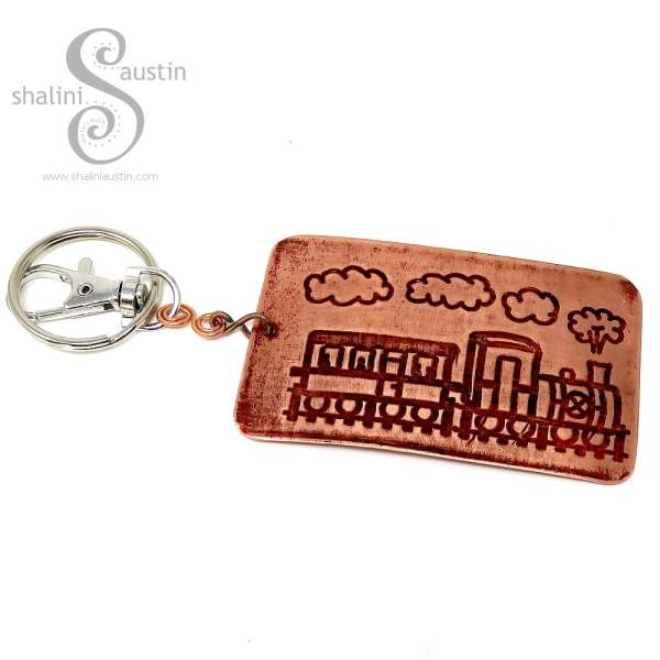 Embossed Copper Keyring STEAM TRAIN