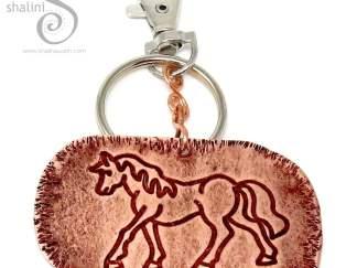 Embossed Copper Keyring HORSE, Great Gift!