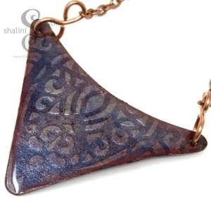 Embossed Enamelled Copper Pendant - Blue