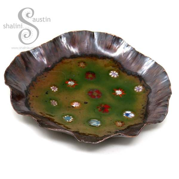Green Enamelled Copper Trinket Tray (03)