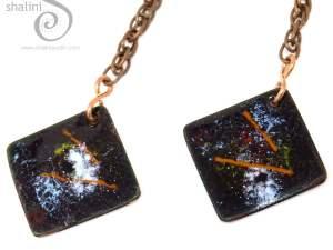 Long Enamelled Copper Earrings