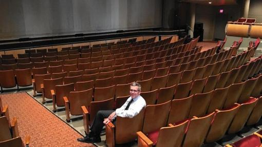 Michael Pauken, general manager of the North Shore Center for the Performing Arts, appears inside the main theater. (Mike Isaacs / Pioneer Press)