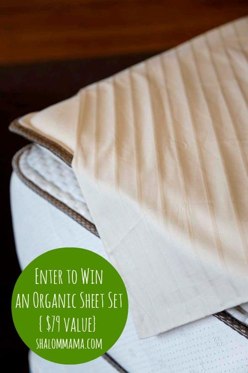 Enter to win an organic sheet set at shalom mama