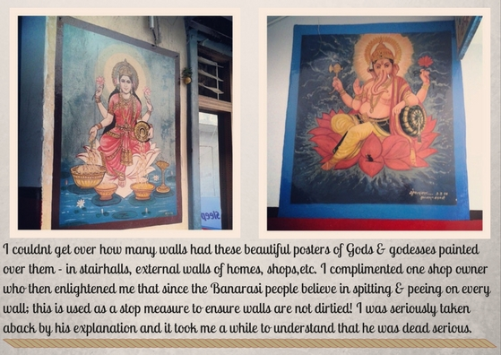 Gods-and-goddesses-pained-on-walls-in-Banaras