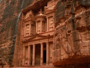 Petra in Jordan. Buildings dug into the sandstone.