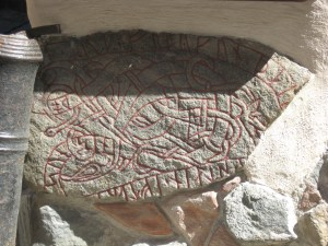 Runestone in old town Stockholm.