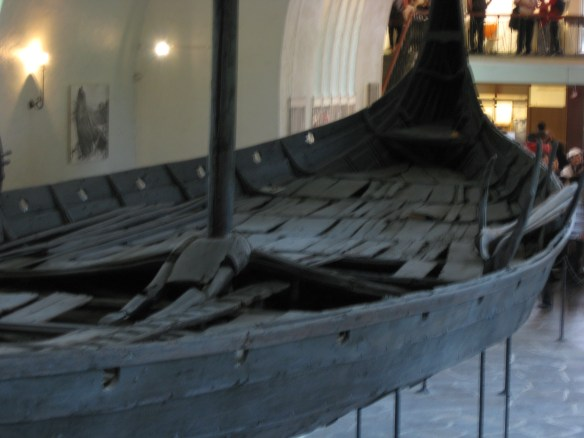 This ancient Viking ship,, circa 800 AD, can be seen at the Viking Museum in Oslo