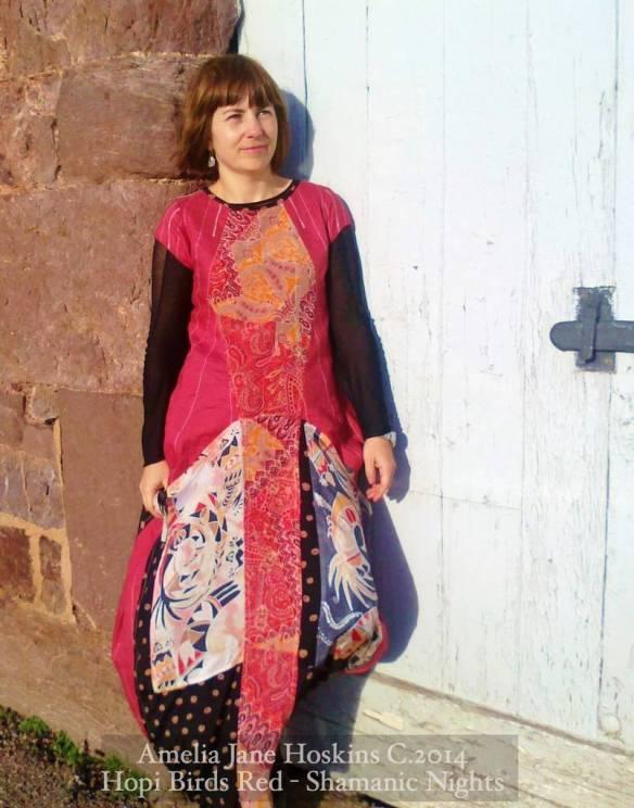 Red Linen and silk painted Hopi dress front Marian corner door