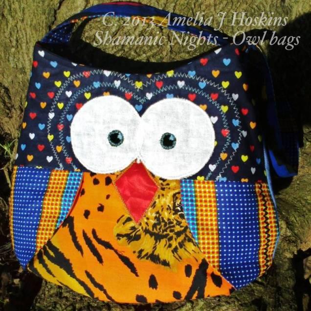 Owl bag navy blue orange tiger tum