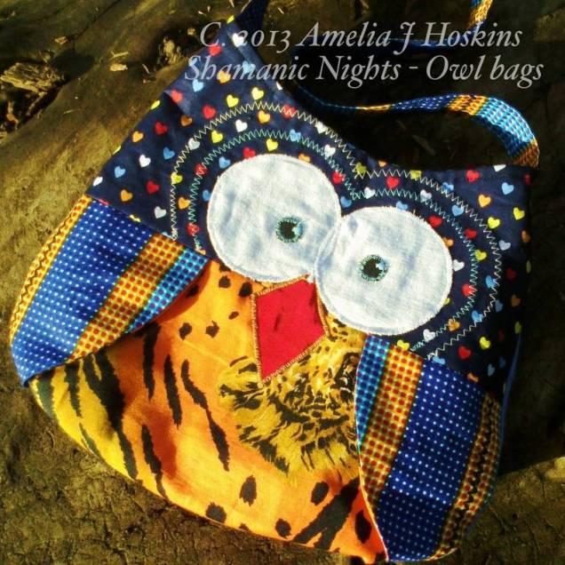 Owl bag navy hearts lion tum