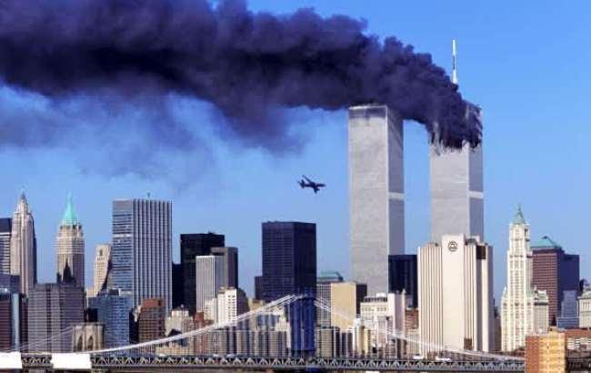 Самолет террористов на подлете к Южной башне