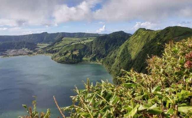 Зеленые скалы уходят в воду